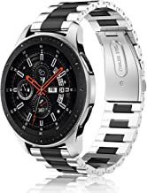 Fintie for Gear S3/Galaxy Watch 46mm Bands, 22mm Solid Stainless Steel Metal Bracelet Strap Replacement Wrist Band for Samsung Gear S3 Frontier/S3 Classic/Galaxy Watch 46mm Smartwatch, Black, Silver