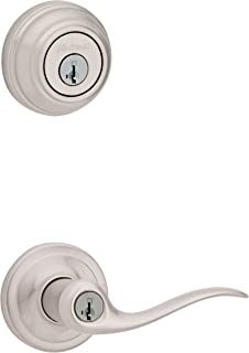 Kwikset 99910-040 991TNL 15 SMT CP K4 Level 991 Tustin Entry Lever and Single Cylinder Deadbolt Combo Pack Featuring SmartKey in Satin Nickel