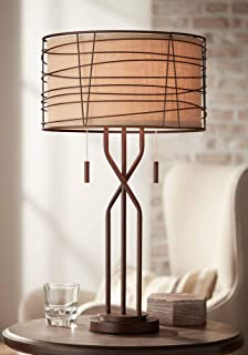 Marlowe Modern Table Lamp Metal Woven Bronze Burlap Drum Shade for Living Room Family Bedroom Bedside Nightstand - Franklin Iron Works