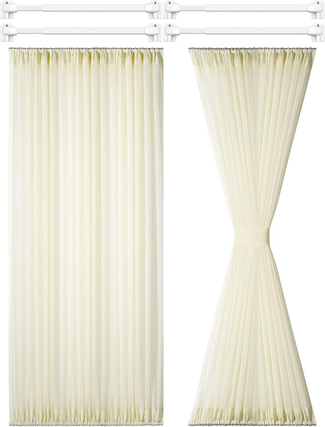 2 Pieces French Door Panel Curtain Sheer Voile Rod Pocket Curtain Panel with 4 Pieces Adjustable Curtain Rod and 8 Pieces Adhesive Curtain Rod Hooks for Home Decoration (Beige,54 x 72 Inches)