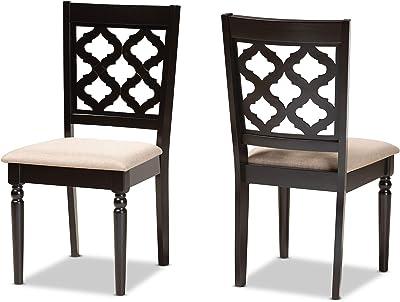 Baxton Studio Set of 2 176-11371-AMZ Dining Chairs, Sand/Dark Brown