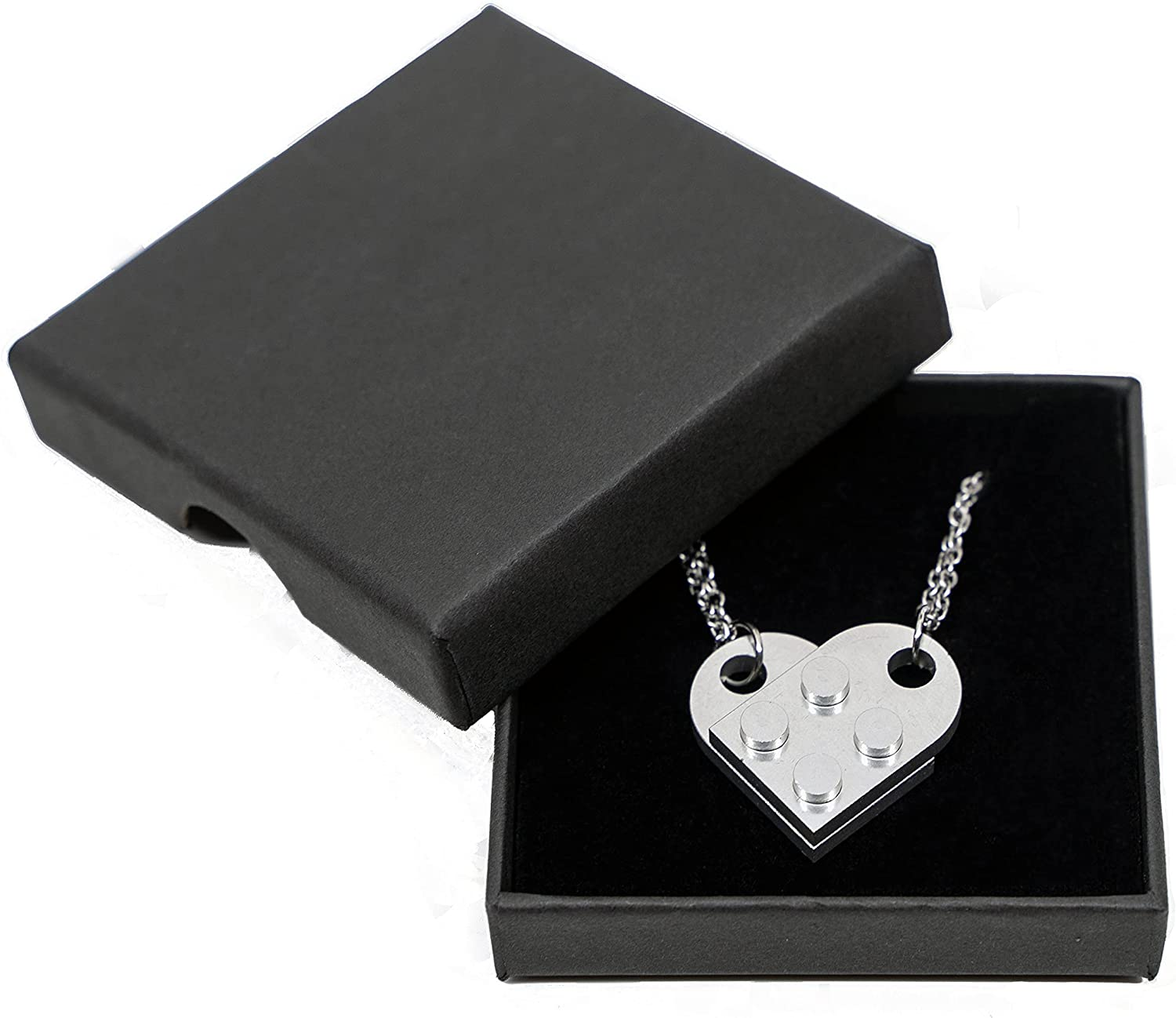 Brick Necklace for Couples Friendship Heart Pendant Shaped 2 Two Piece Jewelry Set Compatible with Lego Elements Gifts for Him Her…