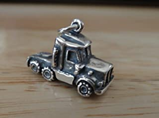 Sterling Silver 3D 14x20x8mm 5gram 18 Wheeler Truck Cab Charm DIY Crafting by Wholesale Charms