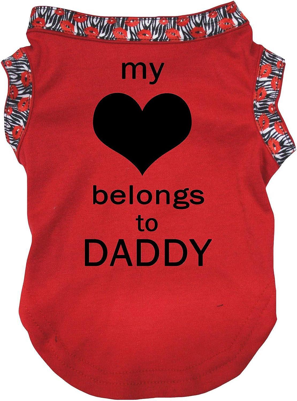 Petitebelle My Love Belongs To Daddy roja, talla XS a XL Camisa para perro