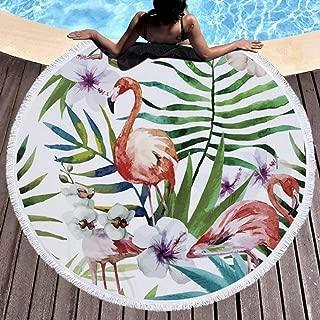 CheeseandU Thick Soft Round Beach Towel Hawaiian Pineapple Flowers Flamingo Large Microfiber Terry Blanket Picnic Carpet Yoga Mat Boho Tablecloth with Fringe for Women Girls Gift Photo Prop 60