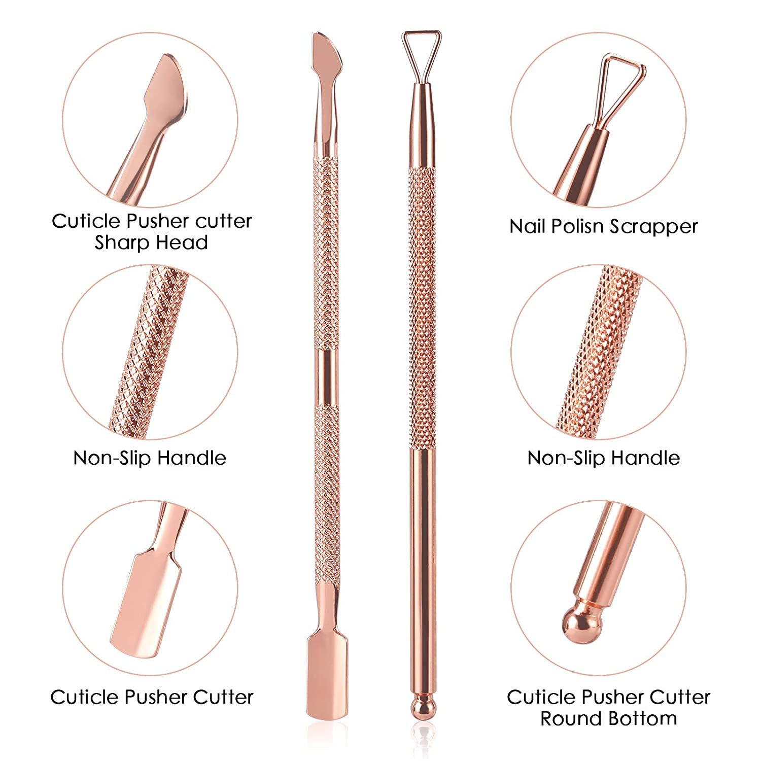 Cuticle Trimmer with Cuticle Pusher and Cutter-YINYIN Cuticle Cutter Cuticle Nipper Professional Stainless Steel Cuticle Clipper