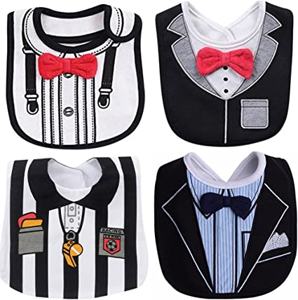 Baby Boy Cotton Waterproof Bib Tuxedo Formal Bow Tie Gentleman Feeding Nice
