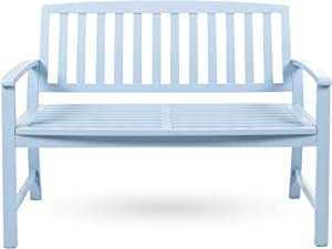 Christopher Knight Home Loja Outdoor Acacia Wood Bench, Light Blue