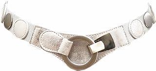 Damen Stretchgürtel Schwarz mit Ketten Wellig Taillengürtel Hüftgürtel ZSP-15049