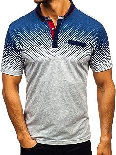 Polo Men's Short Sleeve Lapel Button Polo Shirt Tops Summer Feast Clothing Fashion Floral Print Shirts Leisure Sports Tren...