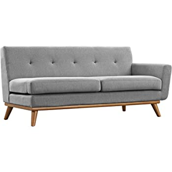 Modway Engage Mid-Century Modern Upholstered Fabric Right-Arm Loveseat In Expectation Gray