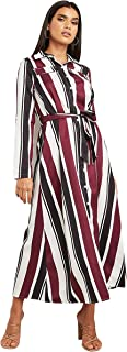 Striped Long Sleeves Maxi Women's Dress with Button Closure