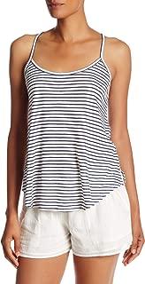 Joie Soft Women's Yahto Striped Linen Blend Trapeze Tank Top, Porcelain/Atlantic Blue, Medium