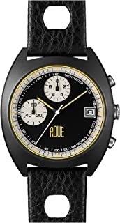 Roue CHR One Chronograph Men's Watch, 1970s Racing Style, 41.5mm Black PVD Sand Blasted Stainless Steel case, Silicone + Soft Leather Straps, Sapphire Crystal with Anti-Reflective Treatment Glass