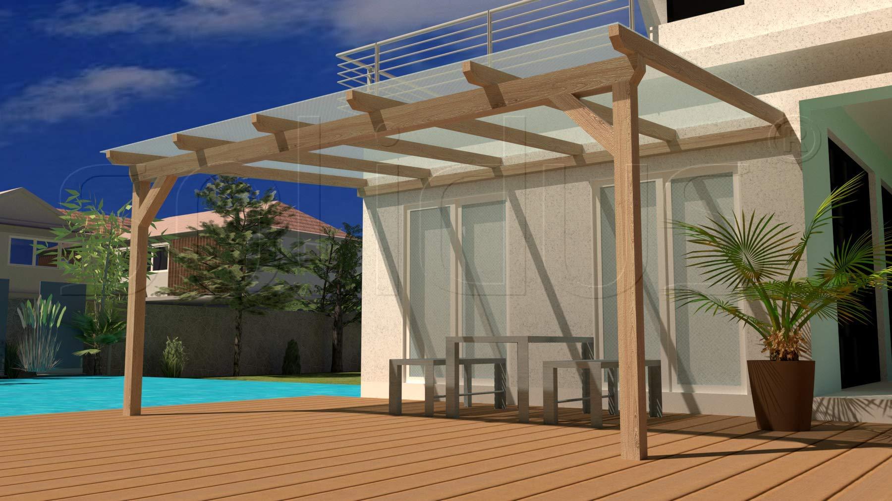 Hap PREMIUM 300 x 350 cm organizador de madera terrazas toldo + plancha + accesorios - sin