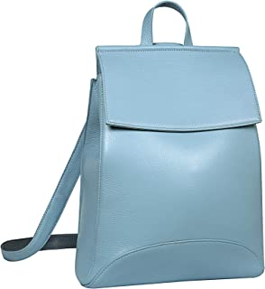 Heshe حقيبة ظهر جلدية نسائية كاجوال حقائب الظهر حقيبة يومية للنساء (أزرق فاتح)