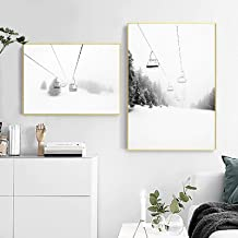 Zwart Wit Fotografie Wall Art Canvas Nordic Ski Mountain Print Modern Picture Ski Lover Gift Home Decoration Painting (70x...