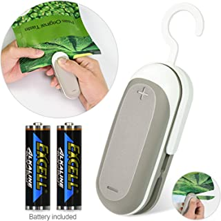 longzon. Mini Selladora de Bolsas de Plastico Portátil con Función del corte para Comida y Merienda Bolsa de Almacenamiento