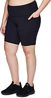 RBX Active Women's Plus Size Fashion Athletic 9-Inch Inseam High Waist Workout Yoga Bike Short with Pockets