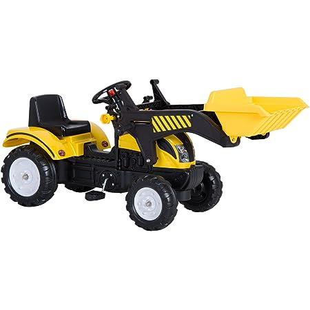 homcom 341-017 Tretauto Traktor Trettraktor mit Anh/ä nger ab 3 Jahre Spielzeug Kinder gelb MH Handel GmbH