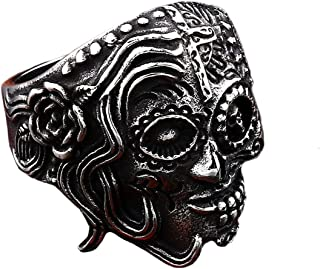 Gungneer Stainless Steel Flower Skull Cross Ring Gothic Punk Jewelry Accessories Men Women