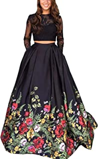 Women's Floral Long Sleeves Prom Dress Gowns