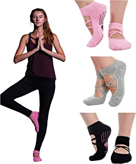 3 pairs Yoga Pilates Barre Ballet cotton non-slip grip sticky socks for women in a cotton gift bag.
