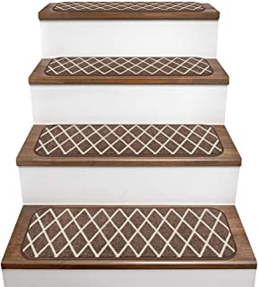 House, Home and More Set of 15 Skid-Resistant Carpet Stair Treads – Diamond Trellis Lattice – Coffee Brown & Vanilla Cream – 8 Inches X 26 Inches