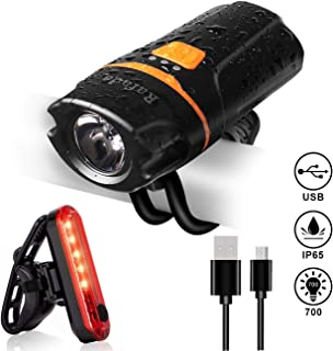 Bike Light Set,Rafada Super Bright 700 LumenBicycle Lights Free Tail Light,Easy to Install Bike Front and Back Rear Lights