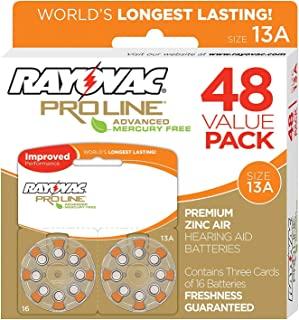 Rayovac Mercury Free Proline Advanced Size 13 Hearing Aid Batteries, Total of 48 Batteries
