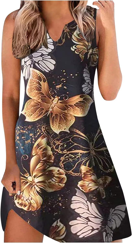 TAYBAGH Summer Dresses for Women 2021, Womens Casual Floral Print Loose Sleeveless Sundress Boho Swing Beach Short Dress