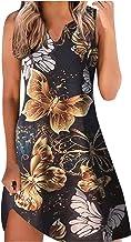 L9WEI Mouwloze zomerjurk voor dames, casual, elegant, ronde hals, strandjurk, bloemenprint, mini-jurk, vrouwen, elegante f...