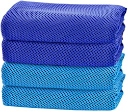 CapsA Cooling Towel, 4Pack Ice Towel for Neck Instant Cooling Chilly Towel for Men Women Kids Super Absorbent Microfiber Towel for Athletes, Workout, Sports, Fitness, Gym, Running, Camping