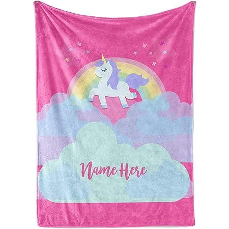 Unicorn Personalised Throw Blanket Warm Soft Bed Sofa Fleece Girls Birthday Gift