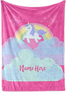Personalized Magical Rainbow Unicorn Blanket for Kids, Teens, Girls, Women, Baby, Adult - Cute Pink Mink Fleece Plush Sherpa Throw Blankets Perfect as Cozy Comfy Presents (60