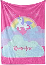 Personalized Magical Rainbow Unicorn Blanket for Kids, Teens, Girls, Women, Baby, Adult - Cute Pink Mink Fleece Plush Sherpa Throw Blankets Perfect as Cozy Comfy Presents (50