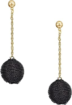 Black Thread Wrapped Ball On Gold Chain Drop Post Earrings