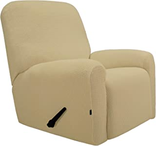 Easy-Going Recliner Stretch Sofa Slipcover Sofa Cover 4-Pieces Furniture Protector Couch Soft with Elastic Bottom Kids, Spandex Jacquard Fabric Small Checks(Recliner,Beige)