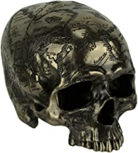 Veronese Design Bronze Finish Craniumography Old Treasure Map On Skull Statue