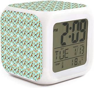 NMlesolg Boxer Dog PizzaKnee Digital Alarm Clock,LED Digital Display,Electronic Small Alarm Clock for Bedroom