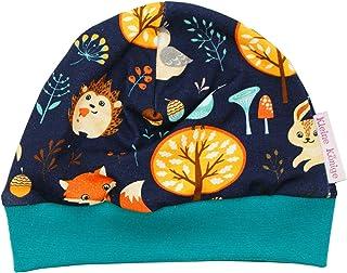 Kleine Könige Mütze Baby Jungen Beanie  Mitwachs-Funktion  Modell Waldtiere Forest Friends Marine tannengrün  Ökotex 100 Zertifiziert  Größen 50-128