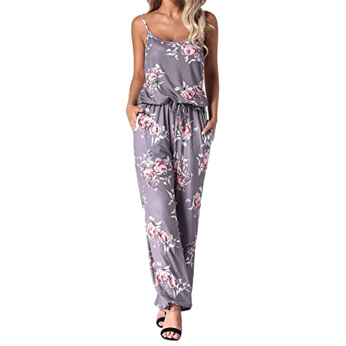 e855cb2fc7c Auxo Women Floral Jumpsuit Strappy Sleeveless Loose Waist Casual Playsuit  Summer Long Pants Romper