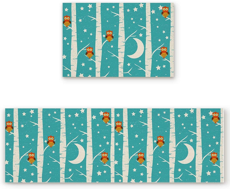 2 Piece Non-Slip Kitchen Mat Runner Rug Set Doormat Cartoon Owl Star and Moon Door Mats Rubber Backing Carpet Indoor Floor Mat(15.7 x23.6 +15.7 x47.2 )
