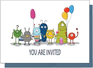 20 Eco Friendly Monster Birthday Invitations for Children (With Blue Envelopes)