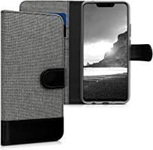 kwmobile Wallet Case for Huawei P Smart+ (2018) / Nova 3i - Fabric and PU Leather Flip Cover with Card Slots and Stand - Grey/Black