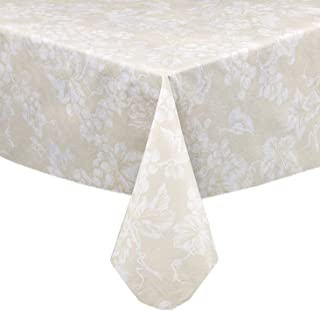 Lintex Grapevines Contemporary Grape Print Heavy 4 Gauge Vinyl Flannel Backed Tablecloth, Indoor/Outdoor Wipe Clean Tablecloth, 52 Inch x 70 Inch Oblong/Rectangle, Ivory
