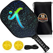 Graphite Pickleball Paddle by Tiger Sports and Outdoors - Lightweight Honeycomb Polymer Composite Core Pickle Ball Racket Bundle - Ultra Cushion Handle with Low Profile Edge - USAPA Approved