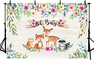MEHOFOTO Woodland Photography Backdrop Animals Girl Baby Shower Party Decorations Banner Pink Floral Green Leaves Photo Studio Booth Background Props 7x5ft