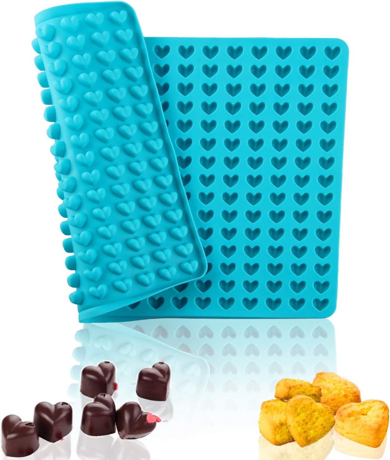 Utilizado para Dulces Molde de Silicona Galletas y Snacks Molde de Silicona en Forma de Coraz/ón Antiadherente y Apto para Alimentos Molde de Chocolate con 255 Agujeros Moldes Gominolas Silicona