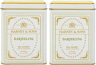 Harney & Son's Darjeeling Tea Tin 20 Sachets (1.4 oz ea, Two Pack) - Black Tea with Floral Notes - 2 Pack 20ct Sachet Tins...
